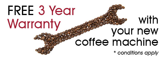 3 Year Warranty with your new coffee machine
