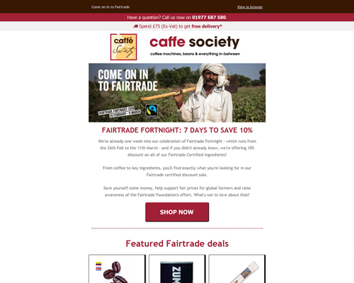 Caffe Society Fair Trade Fortnight Preview